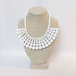 J. Crew White Beaded Statement Necklace NWT